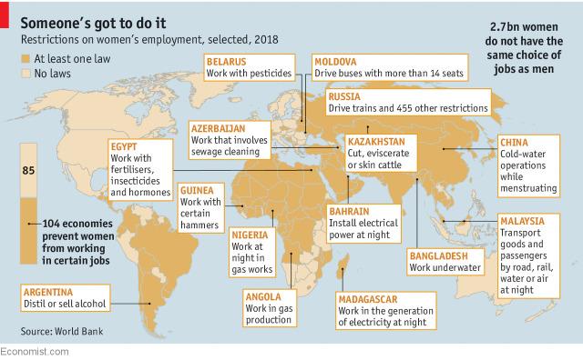 Les Restrictions Lemploi Des Femmes Sont Une Question Mondiale Comme Lillustre Cette Carte Tire Du Numro 26 05 De The Economist Nous Traduisons